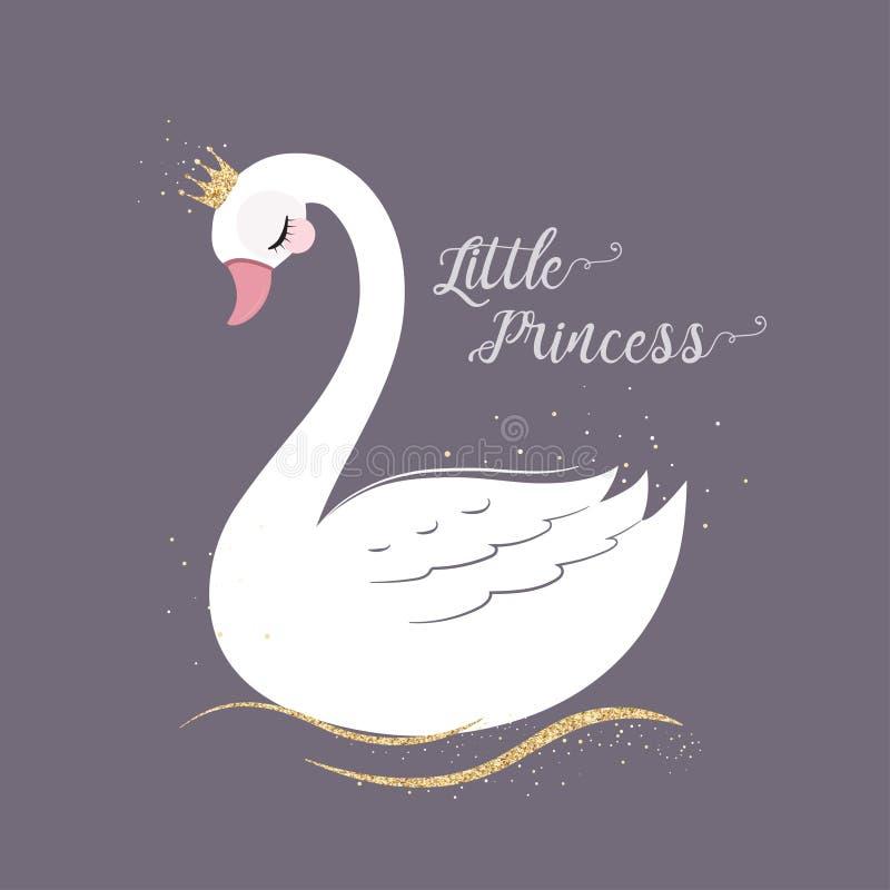 Pequeña princesa linda Swan con la corona del brillo del oro ilustración del vector