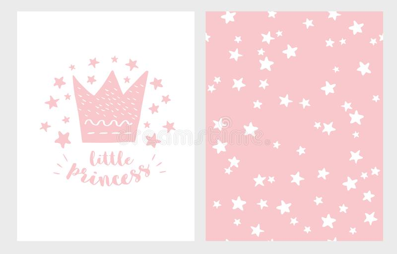 Pequeña princesa Sistema dibujado mano del ejemplo del vector de la fiesta de bienvenida al bebé Diseño rosa claro Modelo rosado  libre illustration