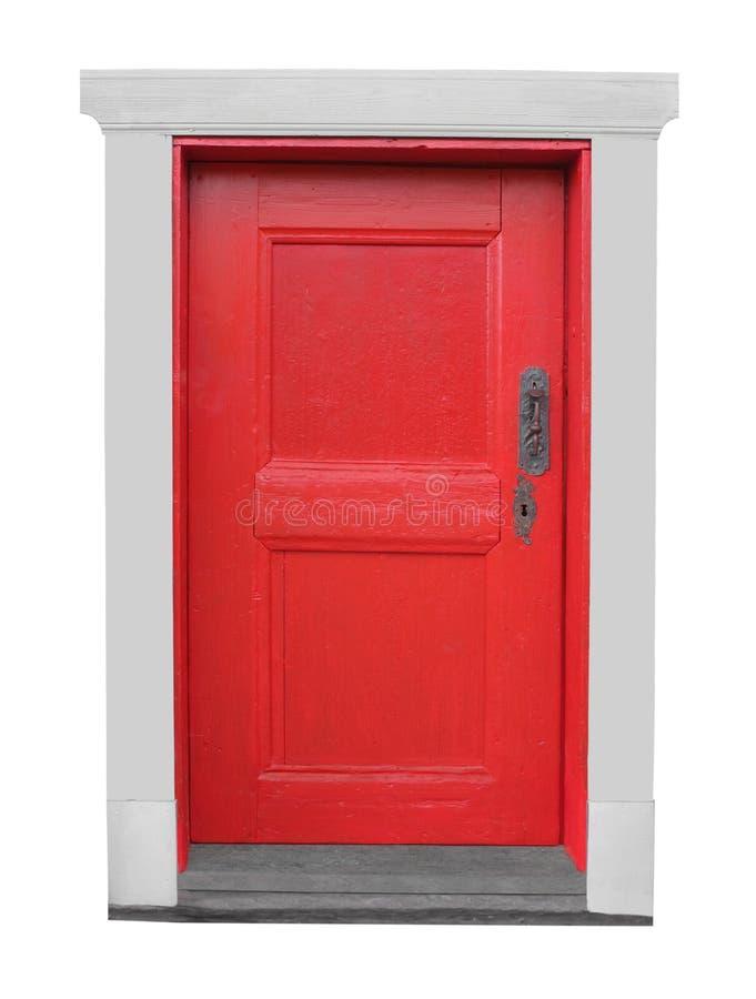 Peque a puerta roja de madera vieja aislada foto de for Puerta vieja madera