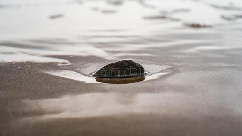 Pequeña roca en la arena foto de archivo