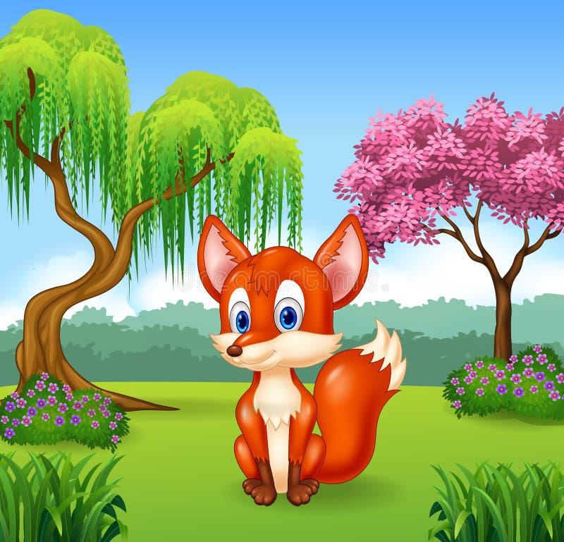 Pequeña sentada linda del zorro libre illustration