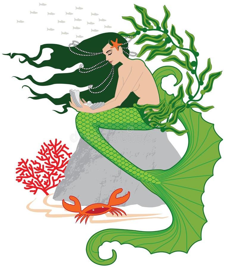 Pequeña sirena stock de ilustración