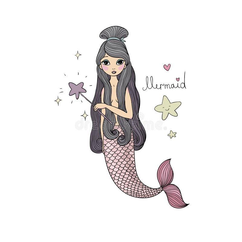 Pequeña sirena de la historieta linda Sirena Tema del mar libre illustration