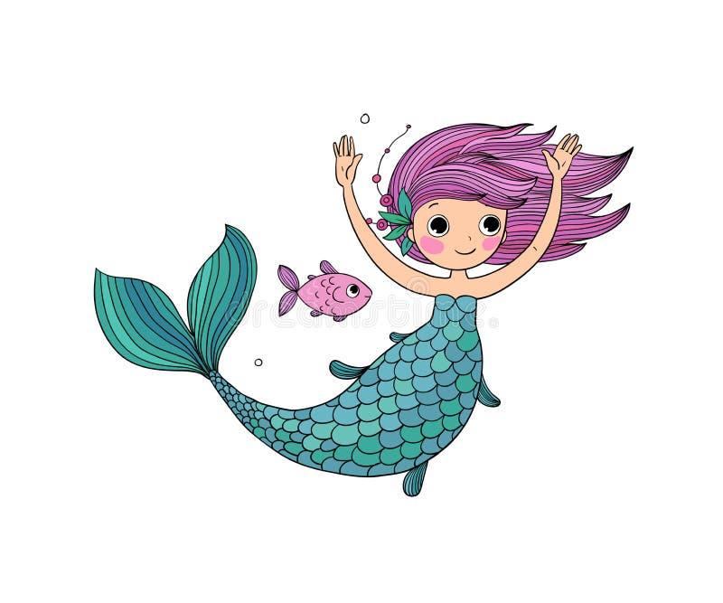 Pequeña sirena de la historieta linda Sirena Tema del mar ilustración del vector