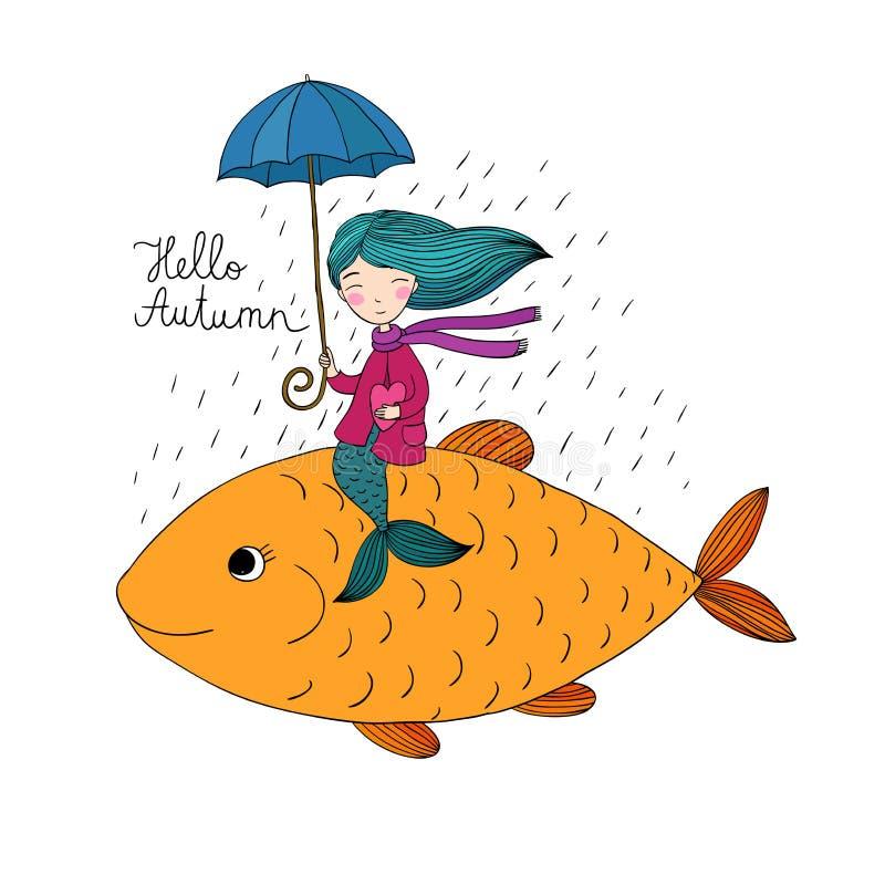 Pequeña sirena hermosa debajo de un paraguas que flota en los pescados grandes stock de ilustración