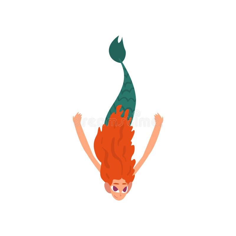 Pequeña sirena pelirroja divertida linda que nada en el mar, ejemplo del vector del personaje de dibujos animados de la criatura  libre illustration