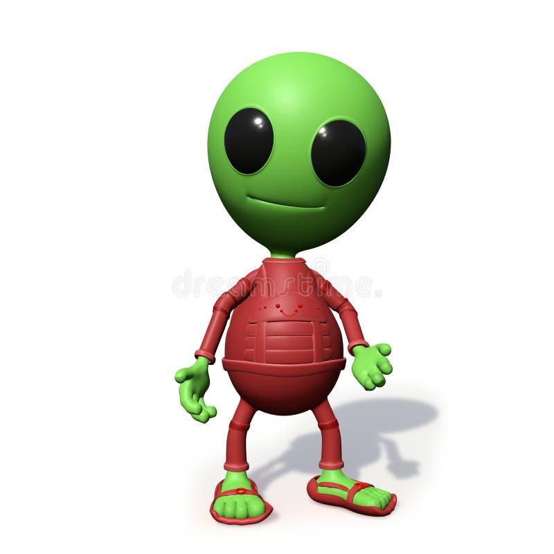 Pequeña situación extranjera linda del personaje de dibujos animados, ejemplo del espacio exterior 3d de la forma del visitante,  stock de ilustración