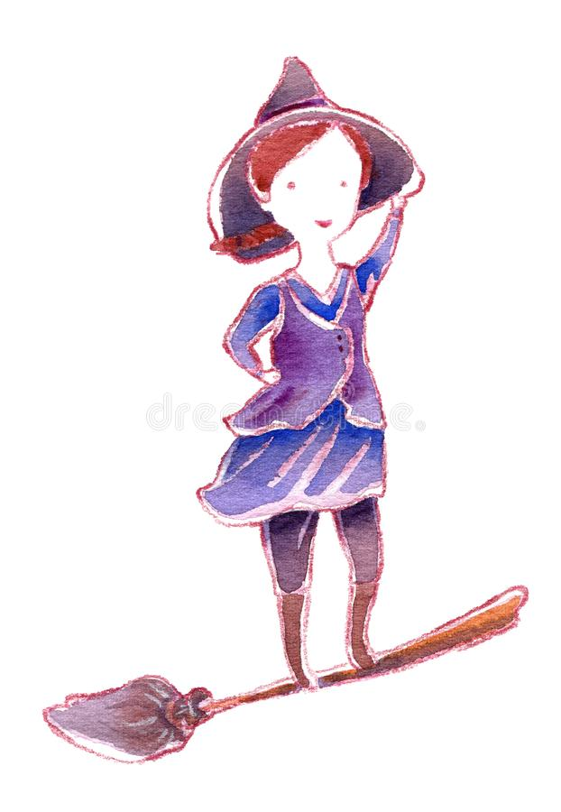 Pequeña situación valiente de la bruja en la escoba que vuela stock de ilustración