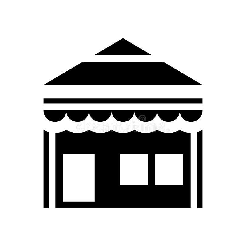 Pequeña tienda con vector del icono del toldo aislada en el fondo blanco, pequeña tienda con la muestra del toldo, símbolos de la stock de ilustración