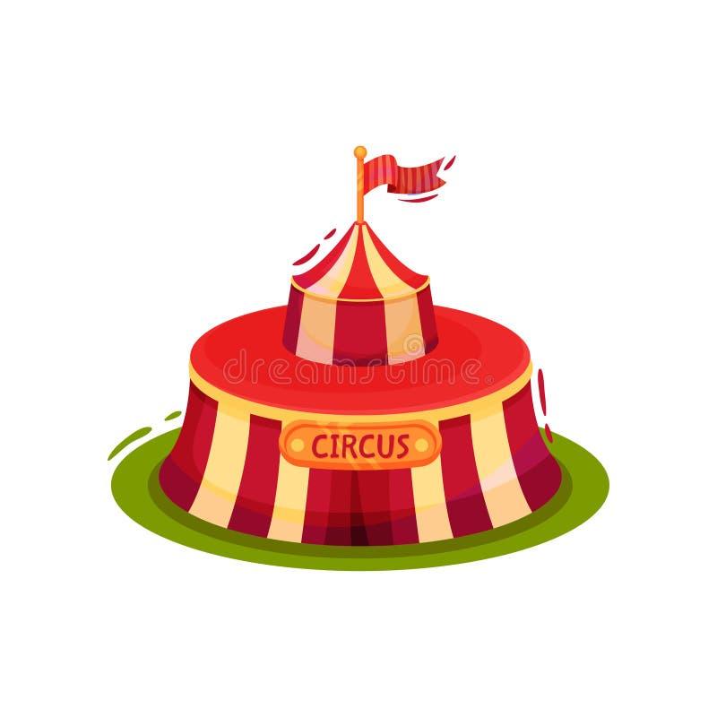 Pequeña tienda de circo roja con la bandera en el top Tema del entretenimiento Elemento plano del vector para el cartel del promo stock de ilustración