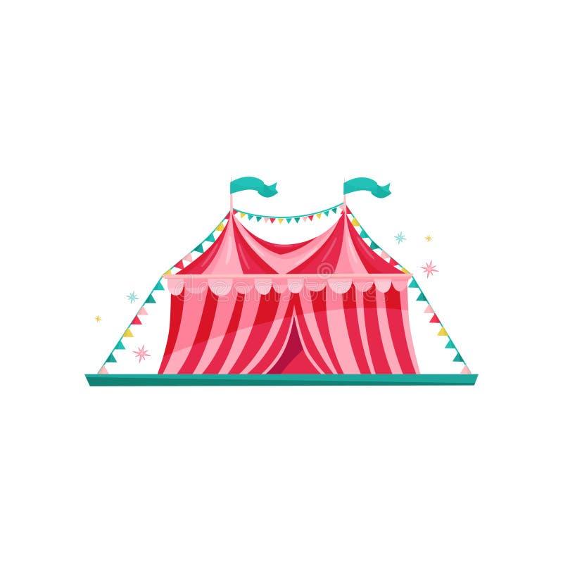 Pequeña tienda de circo rojo-rosada adornada con las banderas de golpe ligero Elemento del parque de atracciones Tema del entrete stock de ilustración