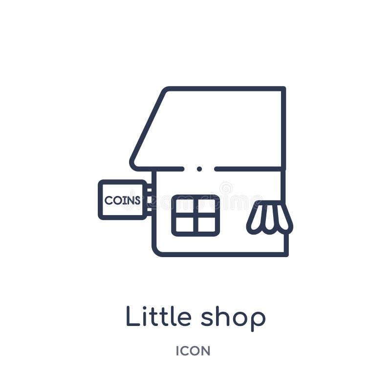 Pequeña tienda linear con el icono del toldo de la colección del esquema del negocio Línea fina pequeña tienda con el icono del t stock de ilustración