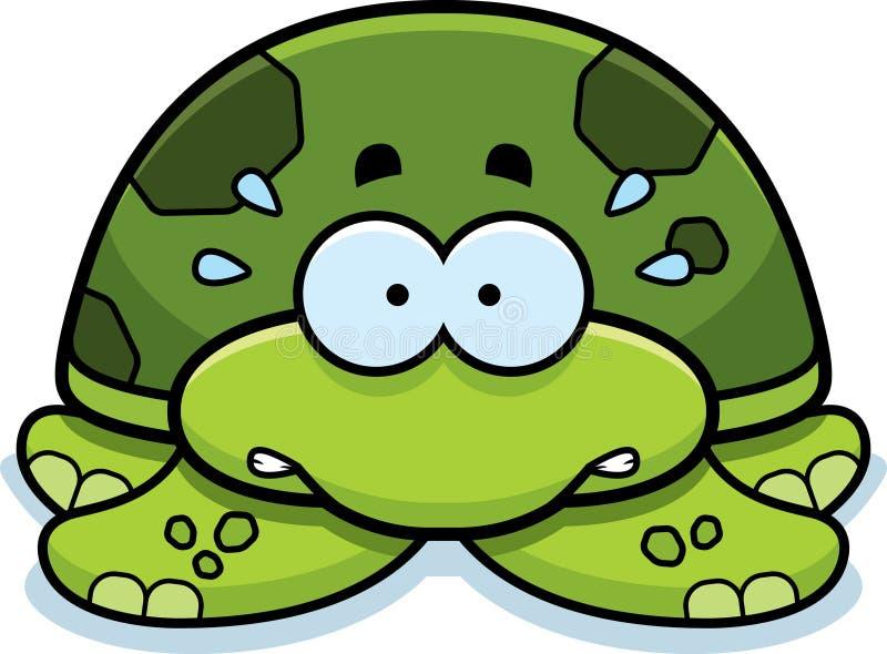 Pequeña tortuga de mar nerviosa stock de ilustración