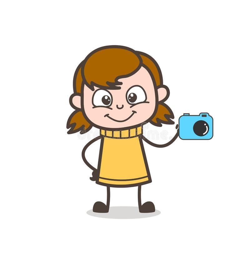Pequeña vendedora que muestra la cámara - ejemplo lindo de la muchacha de la historieta stock de ilustración