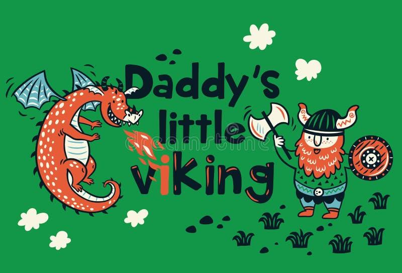 Pequeña vikingo impresión de Daddys para la ropa de los niños libre illustration