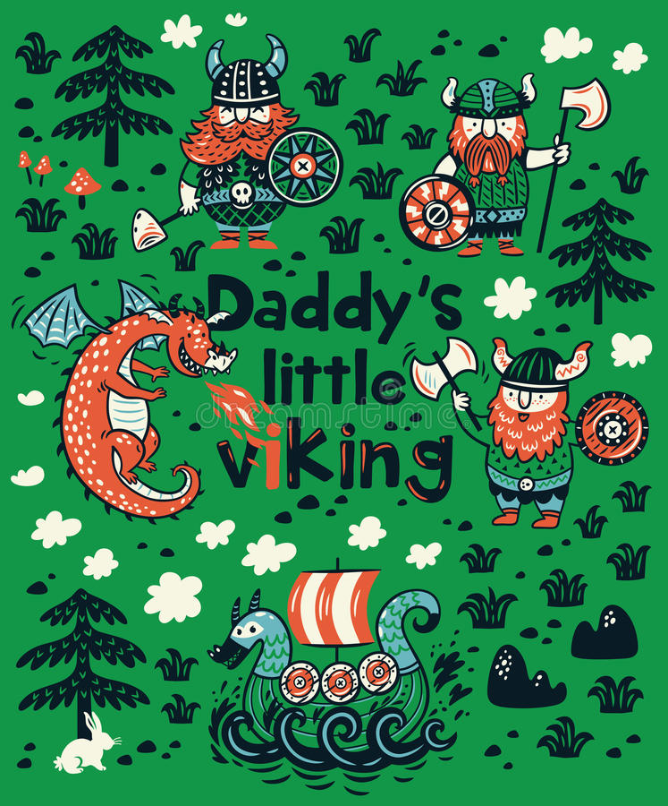 Pequeña vikingo impresión de Daddys para la ropa de los niños stock de ilustración