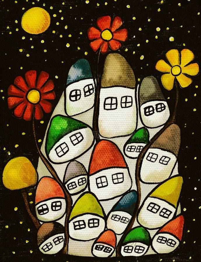 Pequeñas casas para los gnomos ilustración del vector