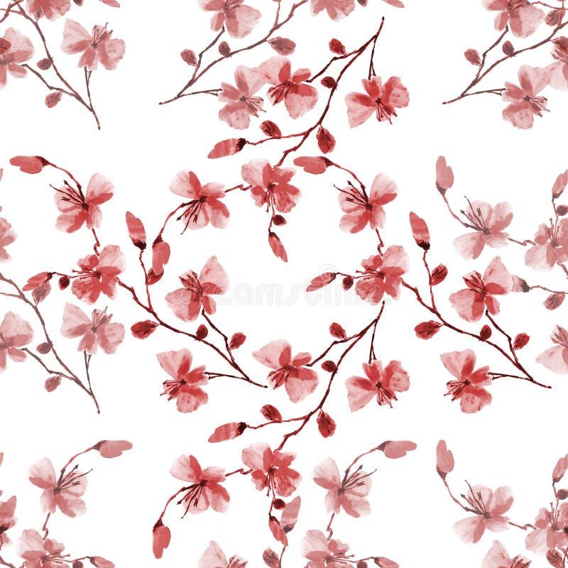 Pequeñas flores rojas salvajes del ciruelo de cereza del modelo inconsútil en un fondo blanco Acuarela -4 libre illustration