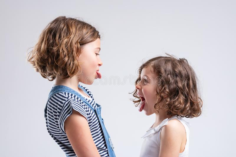 Pequeñas hermanas traviesas que se pegan hacia fuera las lenguas imagen de archivo libre de regalías