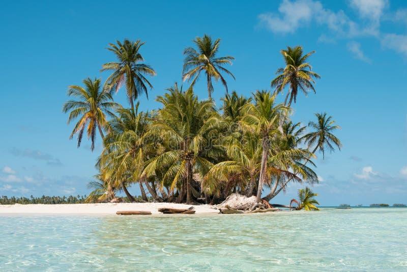 Pequeñas isla, playa y palmeras - San Blas Islands, Panamá fotografía de archivo libre de regalías