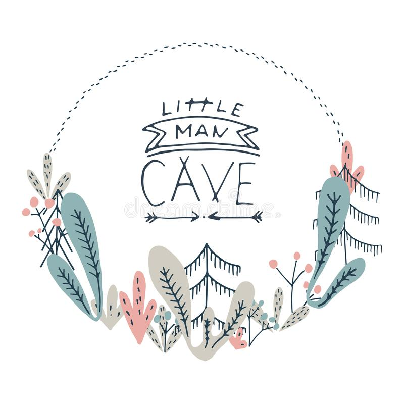 Pequeñas letras de la cueva del hombre Arte del cuarto de niños Elementos del garabato del bosque i ilustración del vector