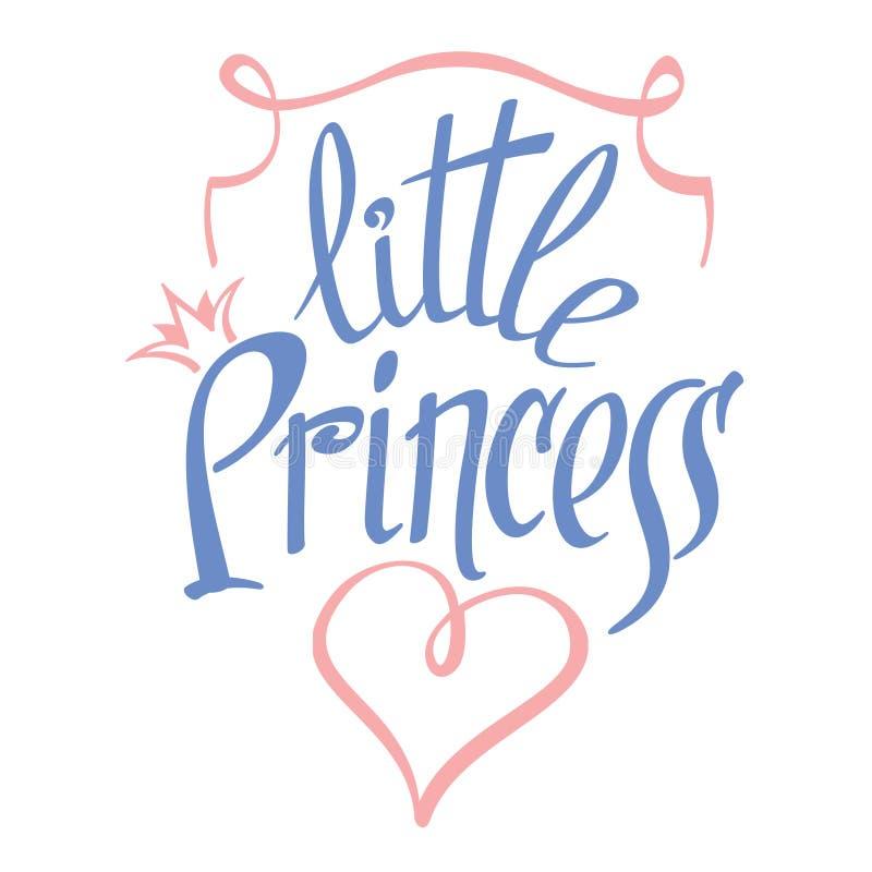 Pequeñas letras del vector de la princesa para la camiseta de la muchacha stock de ilustración