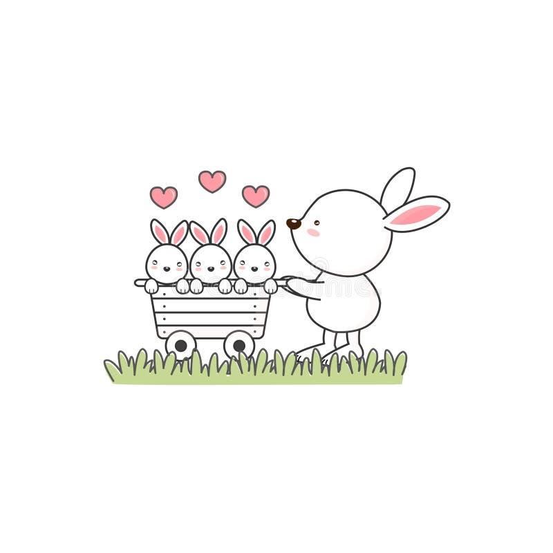Pequeñas liebres lindas con la mamá libre illustration