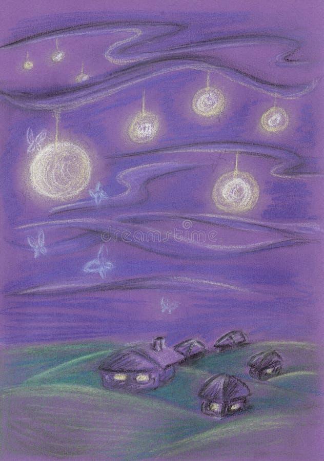 Pequeñas linternas de la noche del pueblo en el cielo libre illustration