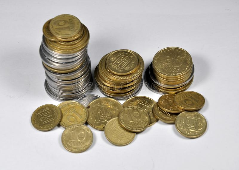 Pequeñas monedas ucranianas fotos de archivo libres de regalías