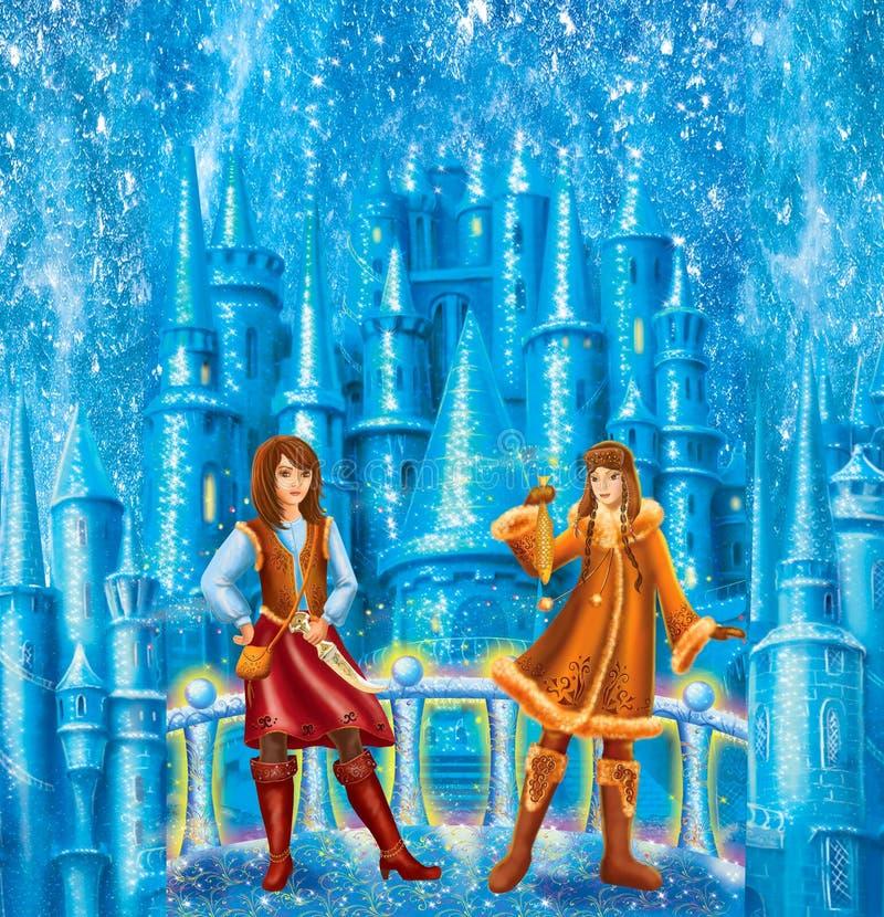 Pequeñas muchacha del ladrón de los personajes de dibujos animados y mujer de Lappish para la reina de la nieve del cuento de had ilustración del vector