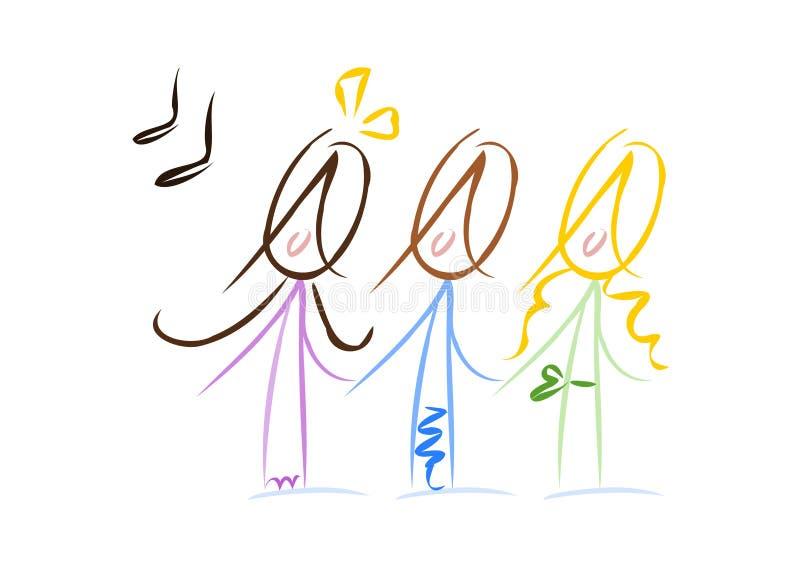 Pequeñas muchachas cantantes lindas stock de ilustración