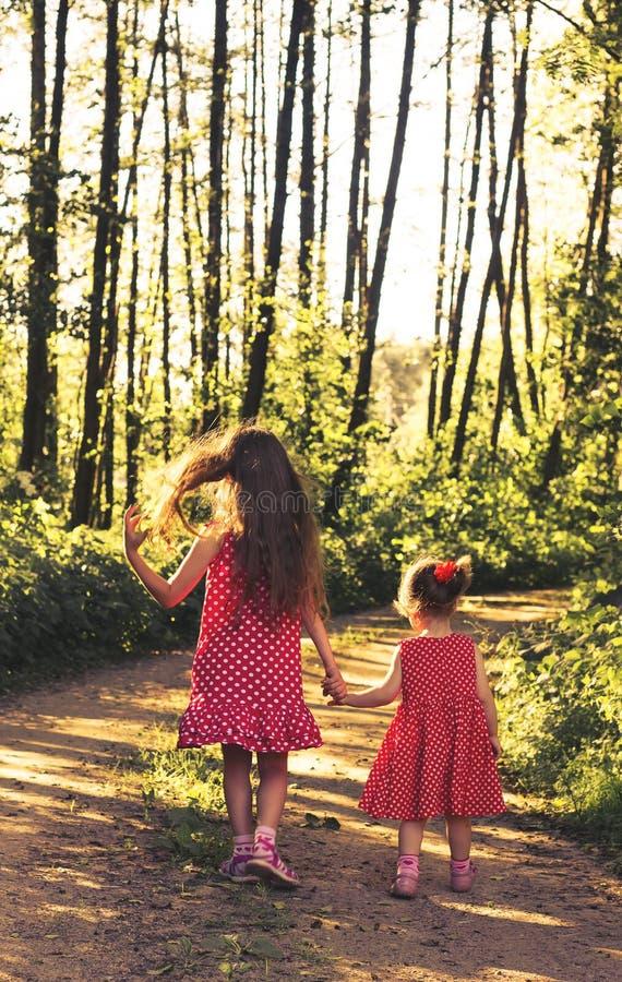 Pequeñas muchachas felices lindas que corren en el prado verde en la puesta del sol entonado fotos de archivo libres de regalías