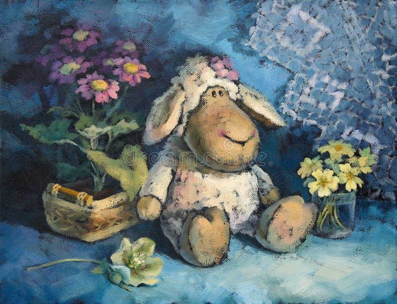 Pequeñas ovejas dulces con las flores ilustración del vector