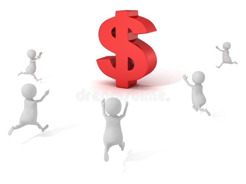 pequeñas personas 3d que corren a la muestra de dólar roja libre illustration