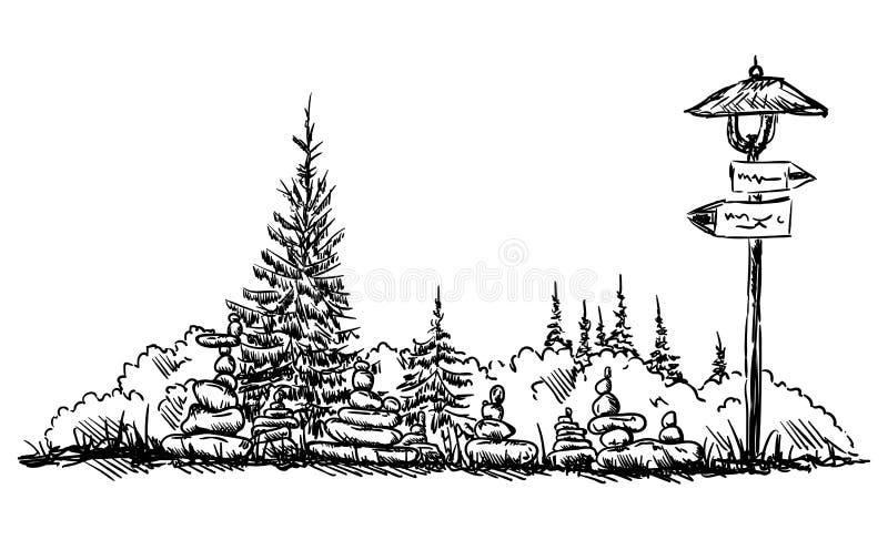 Pequeñas torres de piedras stock de ilustración