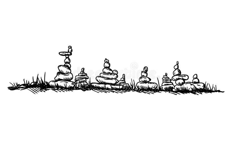 Pequeñas torres de piedras ilustración del vector