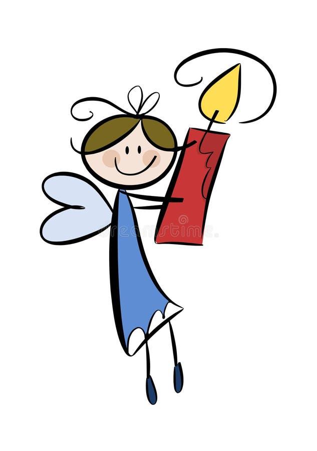 Pequeño ángel lindo con la vela libre illustration