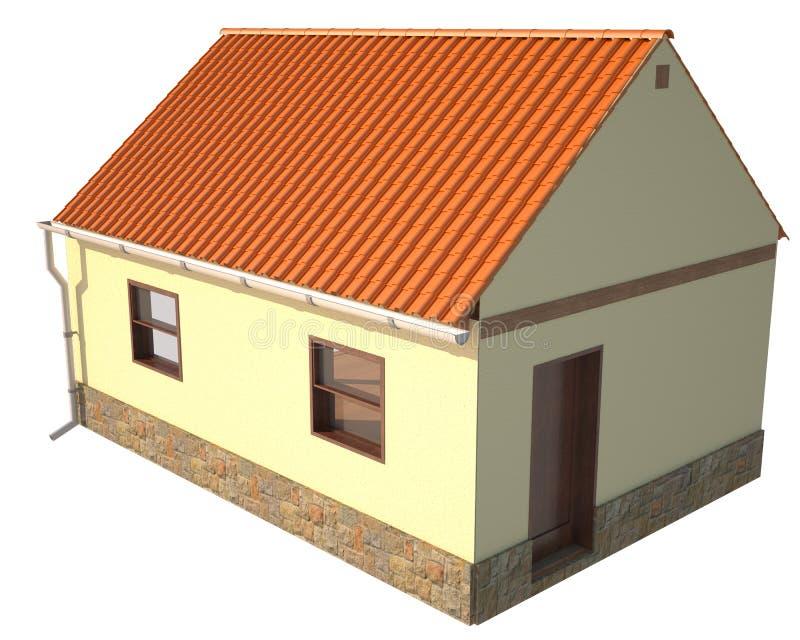 Pequeño aislante simple de la casa en el fondo blanco libre illustration