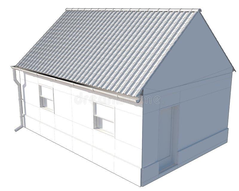 Pequeño aislante simple de la casa en el fondo blanco stock de ilustración