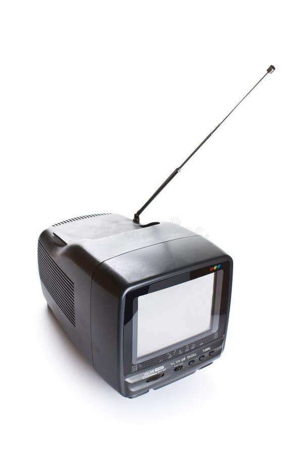 Pequeño aparato de TV con la pantalla blanca en blanco imagen de archivo libre de regalías