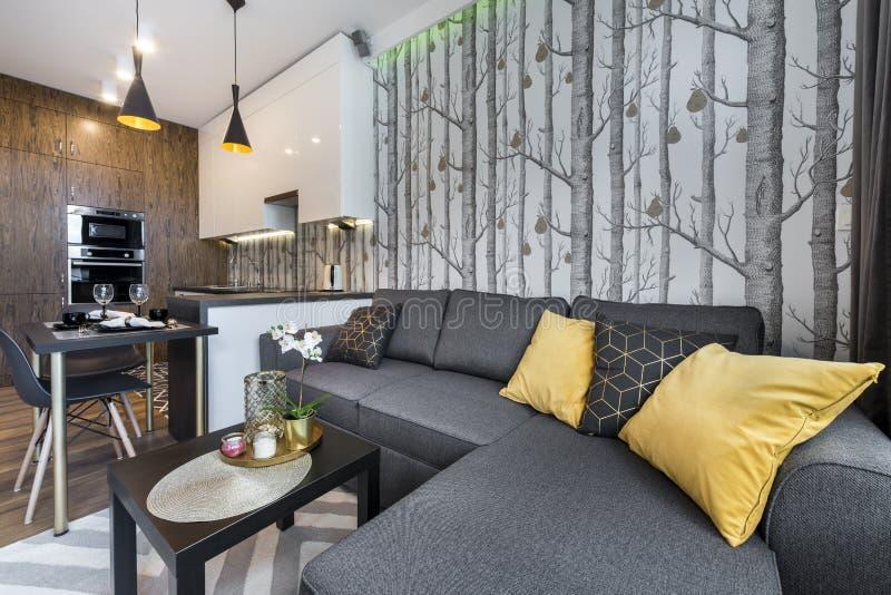 Pequeño apartamento moderno del diseño interior imagen de archivo