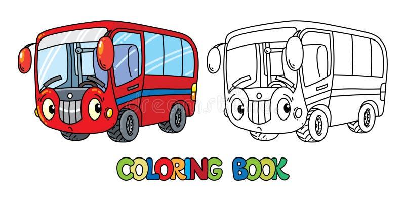 Pequeño autobús divertido con los ojos Libro de colorante stock de ilustración