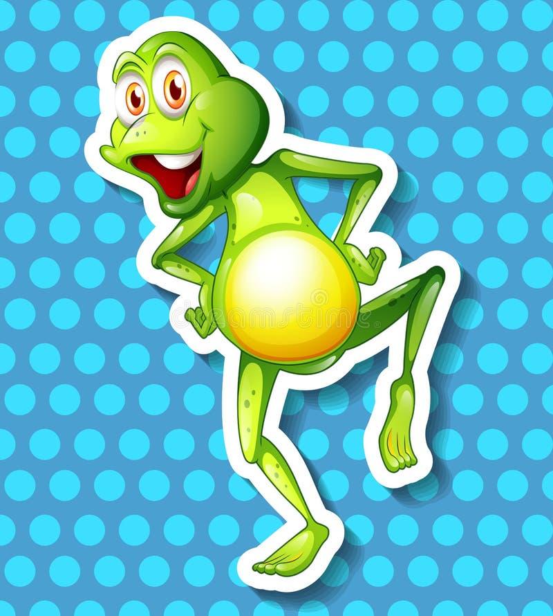 Pequeño baile de la rana verde ilustración del vector