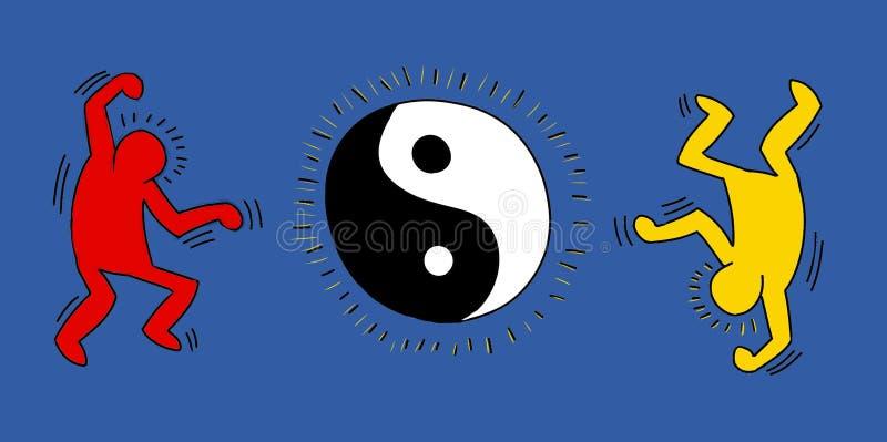 pequeño baile estilizado del hombre y celebración, bandera ilustración del vector