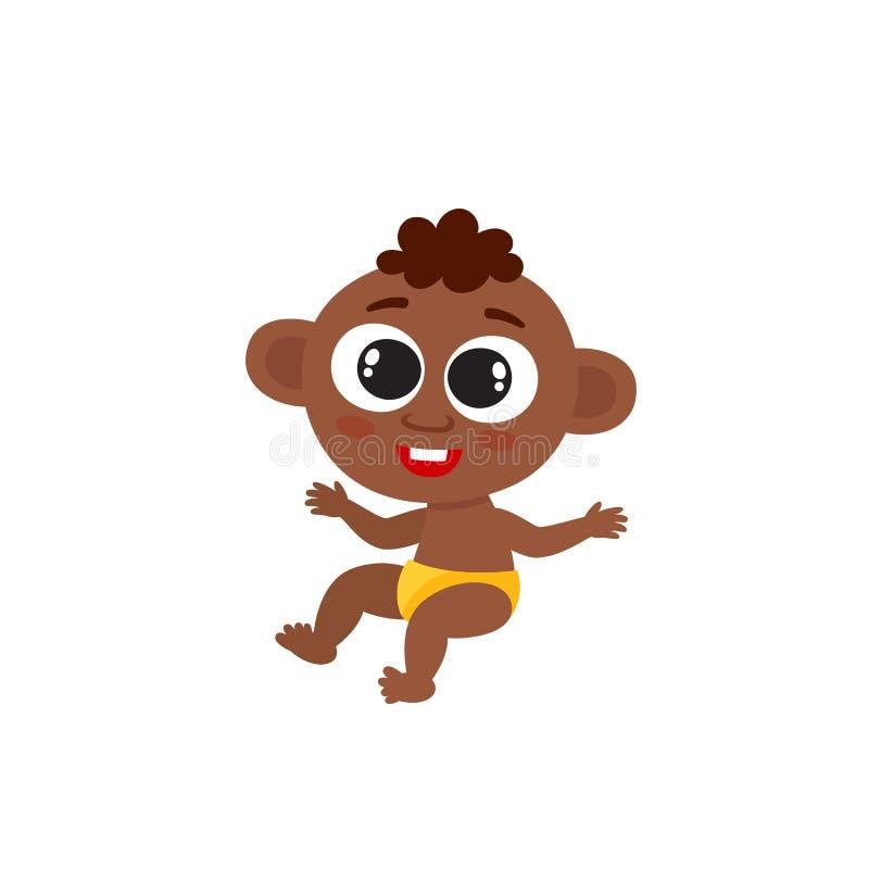 Pequeño bebé afroamericano lindo aislado en blanco ilustración del vector