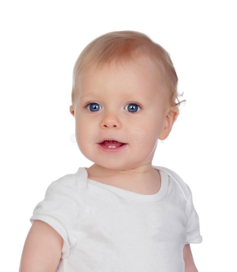 Pequeño bebé con ojos azules y pelo rubio que miran la cámara imagen de archivo