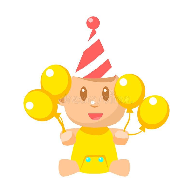 Pequeño bebé feliz en sombrero de la fiesta de cumpleaños con los ejemplos simples del vector amarillo de los globos con el niño  ilustración del vector