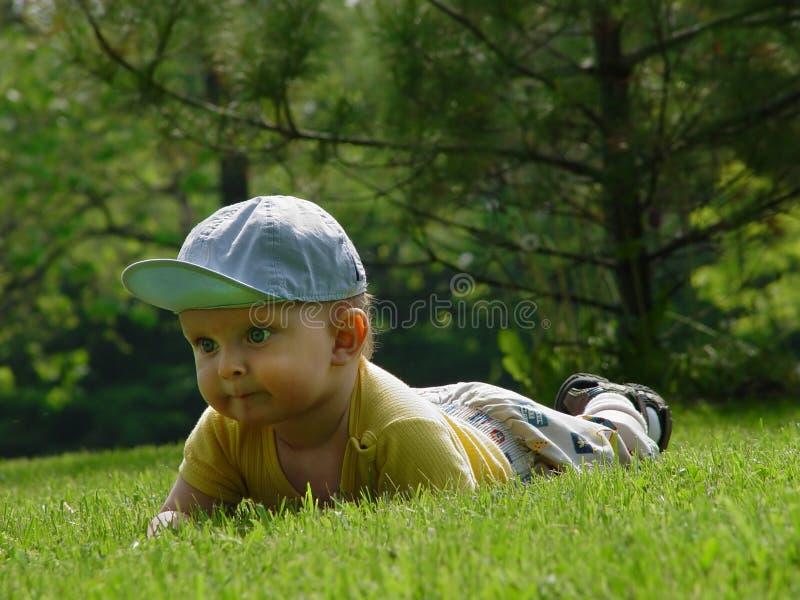 Pequeño bebé-muchacho en la hierba imagen de archivo
