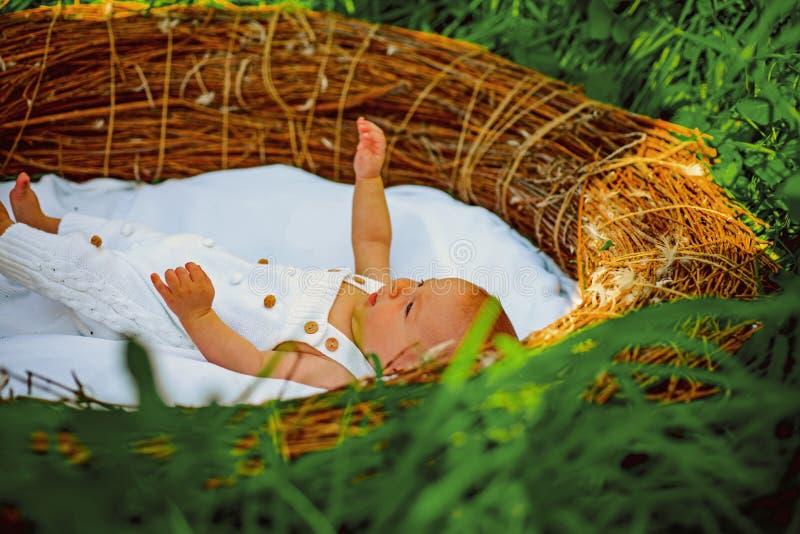 Pequeño bebé recién nacido Enfermera y paseo con el niño Pecho o criar con biberón para el pequeño bebé recién nacido Después de  foto de archivo libre de regalías