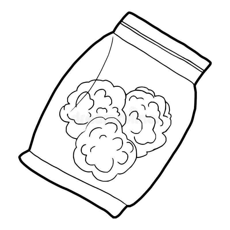 Pequeño bolso con los brotes del icono médico de la marijuana stock de ilustración